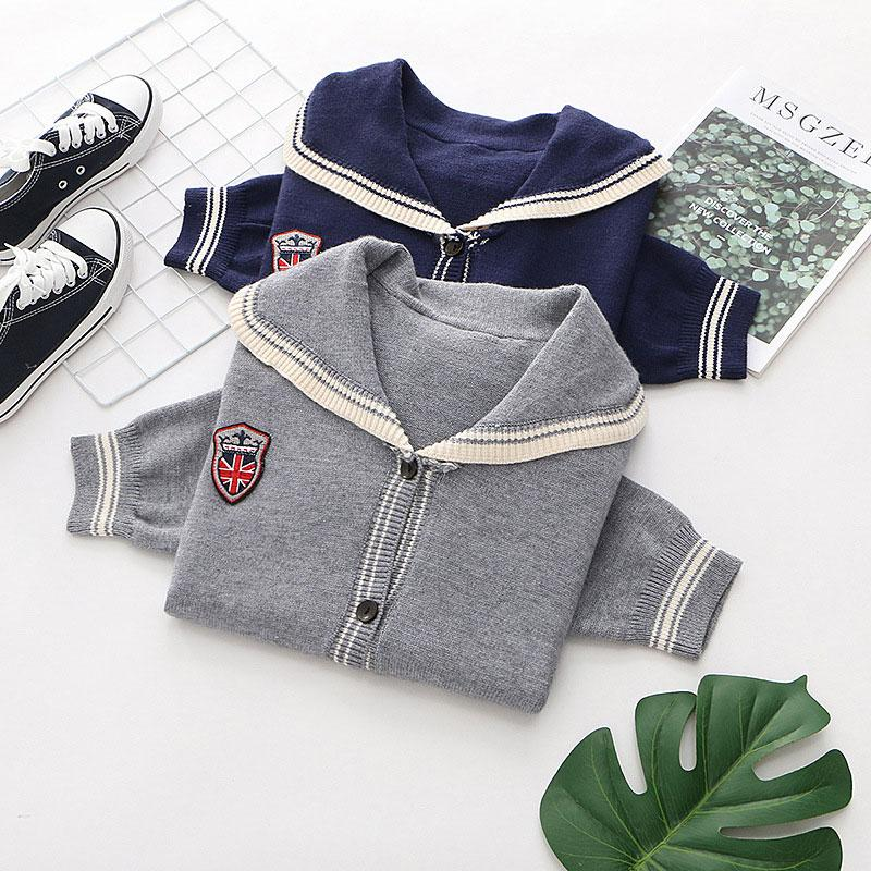 Modakawa Coat School Badge Embroidery Collar Stripe Sweater Coat