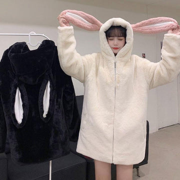 Modakawa Coat Sweet Bunny Ears Plush Hooded Coat