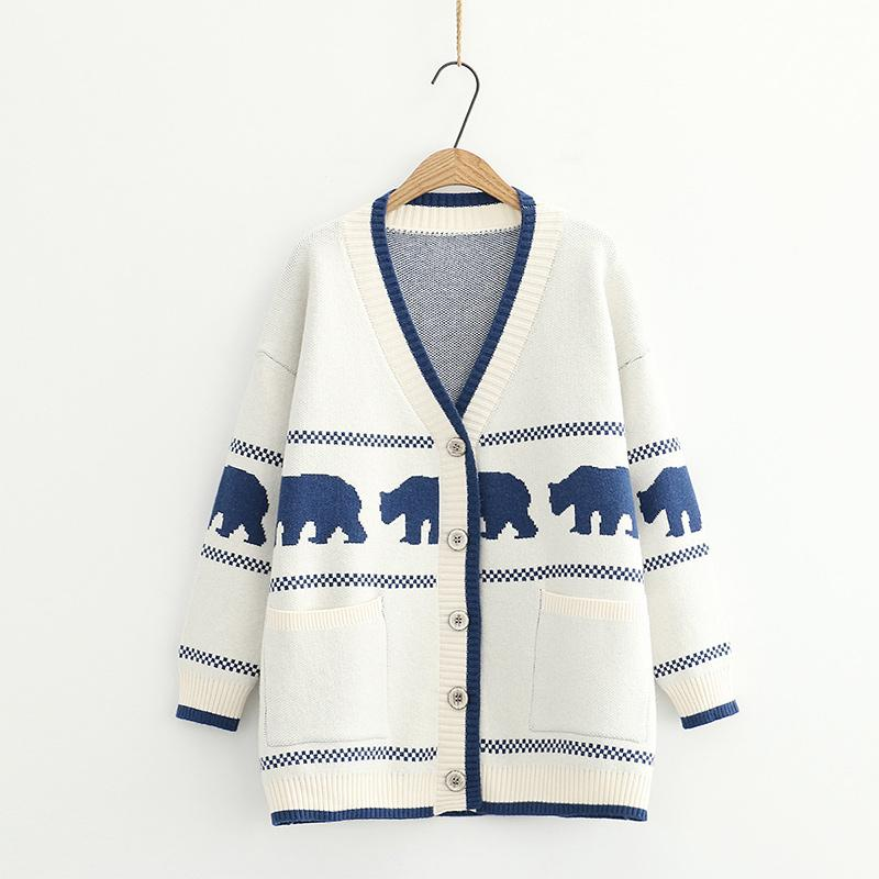 Modakawa Coat White / One Size Cartoon Bear V-Neck Button Knitted Sweater Coat