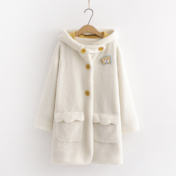 Modakawa Coat White / One Size College Style Little Bear Hooded Cotton Coat