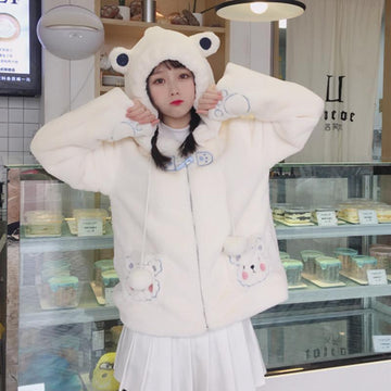 Modakawa Coat White / One Size Cute Bear Ears Pocket Plush Hooded Coat