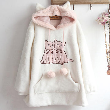 Modakawa Coat White / One Size Cute Kitty Ears Embroidery Fuzzy Ball Hoodie Coat