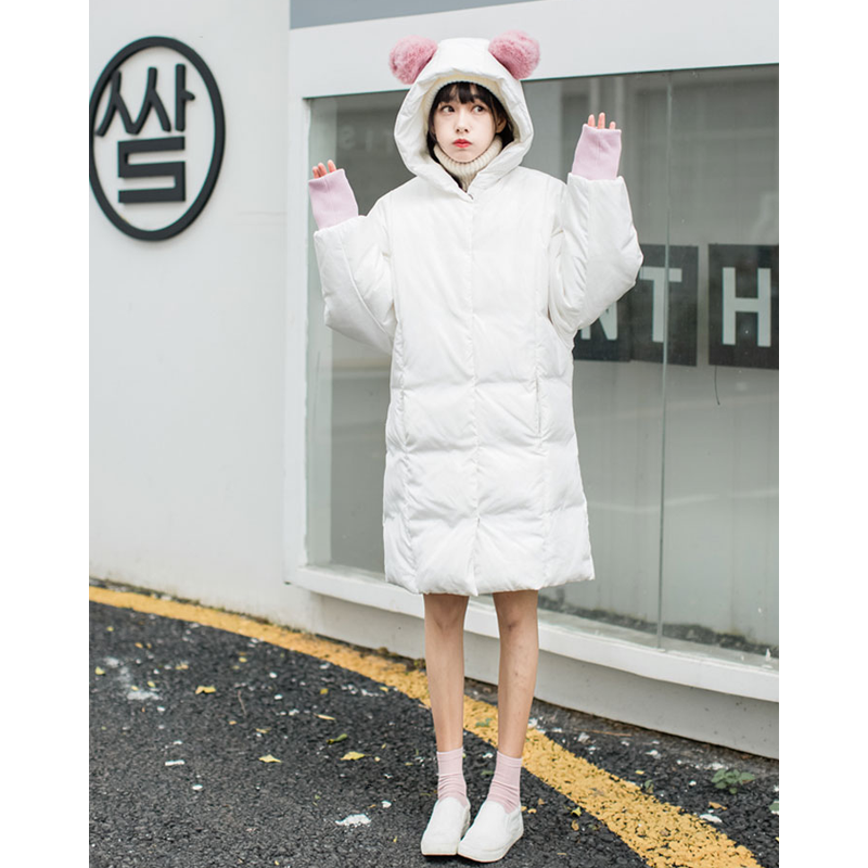 Modakawa Coat White / S Cute Ears Pocket Loose Hooded Down Coat