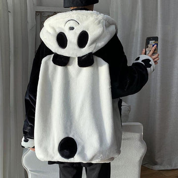 Modakawa Coat White / S Panda Ears Zipper Hooded Coat Reversible