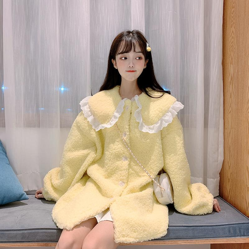 Modakawa Coat Yellow / One Size Cute Doll Collar Plush Coat