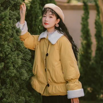 Modakawa Coat Yellow / S Sweet Loose Pure Color Cotton Coat