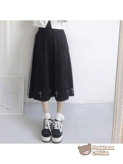 Modakawa Cosplay Black Long Skirt Cross Printed T-shirt & Skirt