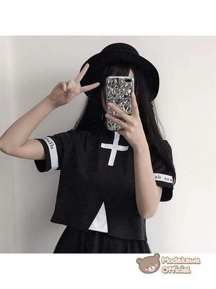 Modakawa Cosplay Black Shirt Cross Printed T-shirt & Skirt