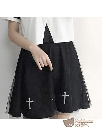 Modakawa - Cosplay - Cross Print Skirt T-Shirt Women - Cross Printed T-Shirt & Skirt