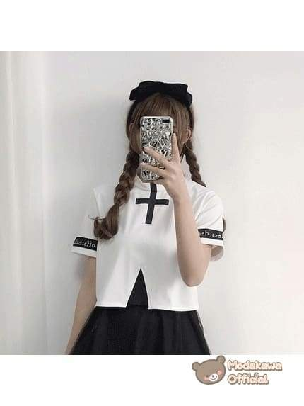 Modakawa Cosplay White Shirt Cross Printed T-shirt & Skirt