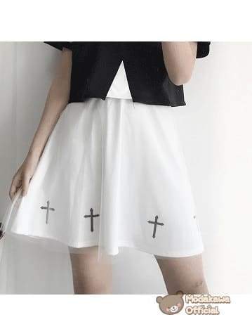 Modakawa Cosplay White Short Skirt Cross Printed T-shirt & Skirt