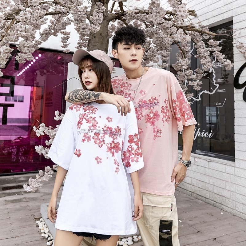 Modakawa Couple's Girlfriend Boyfriend Sakura Print Oversize T-Shirt