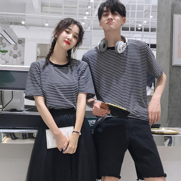 Modakawa Couple's Girlfriend Boyfriend Stripe T-shirt Shorts Mesh Skirt Set