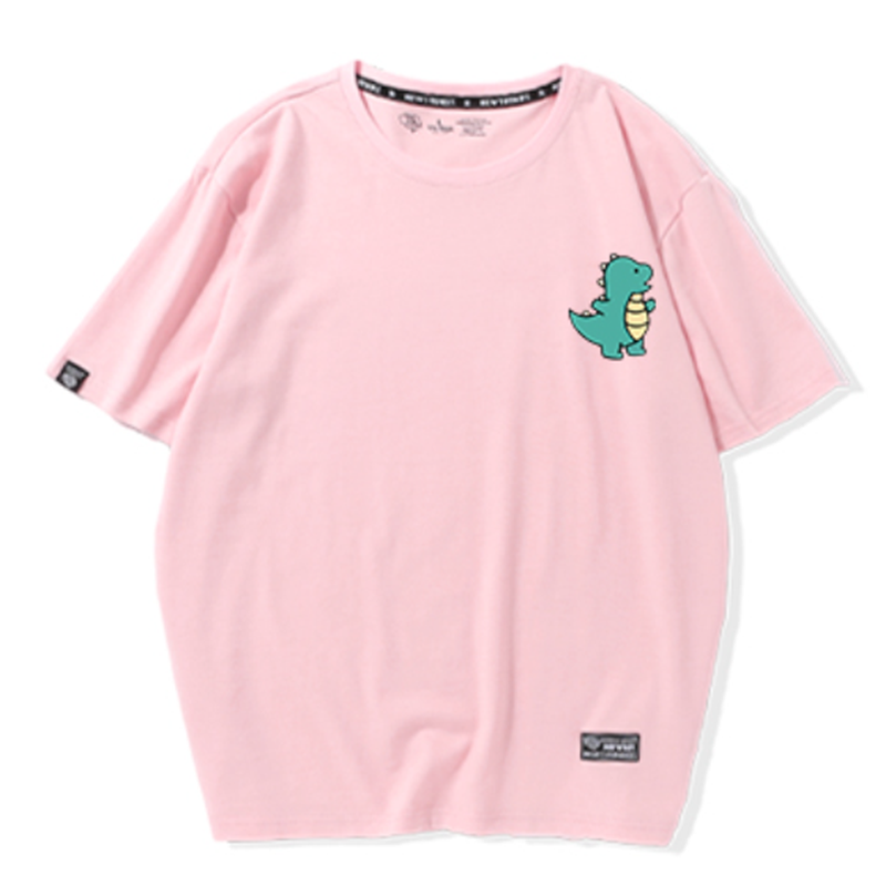 Modakawa Couple's Pink A / S Girlfriend Boyfriend Valentine Dinosaur Print T-shirt