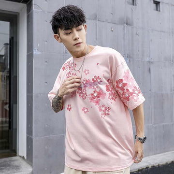 Modakawa Couple's Pink / S Girlfriend Boyfriend Sakura Print Oversize T-Shirt