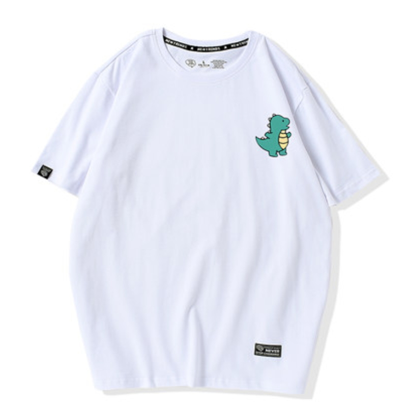 Modakawa Couple's White A / S Girlfriend Boyfriend Valentine Dinosaur Print T-shirt