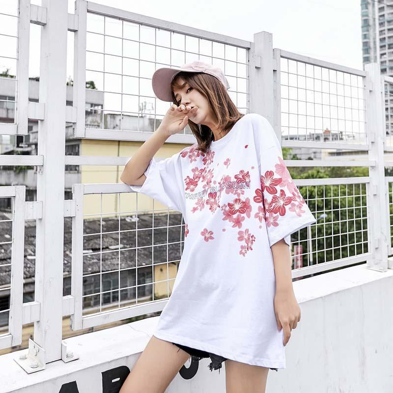 Girlfriend Boyfriend Sakura Print Oversize T-Shirt