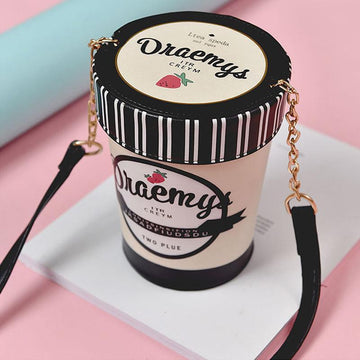 Modakawa Crossbody Bag Black Strawberry Ice Cream Bucket Bag