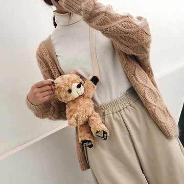 Modakawa Crossbody Bag Brown / One Size Cute Teddy Bear Crossbody Bag