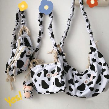 Modakawa Crossbody Bag Cow Zipper Crossbody Bag