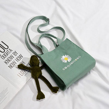 Modakawa Crossbody Bag Green / One Size Daisy Embroidery Frog Accessory Canvas Crossboby Bag
