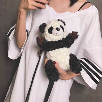 Modakawa Crossbody Bag Panda Soft Plush Crossbody Bag