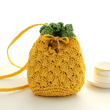 Modakawa Crossbody Bag Pineapple Straw Crossbody Bag