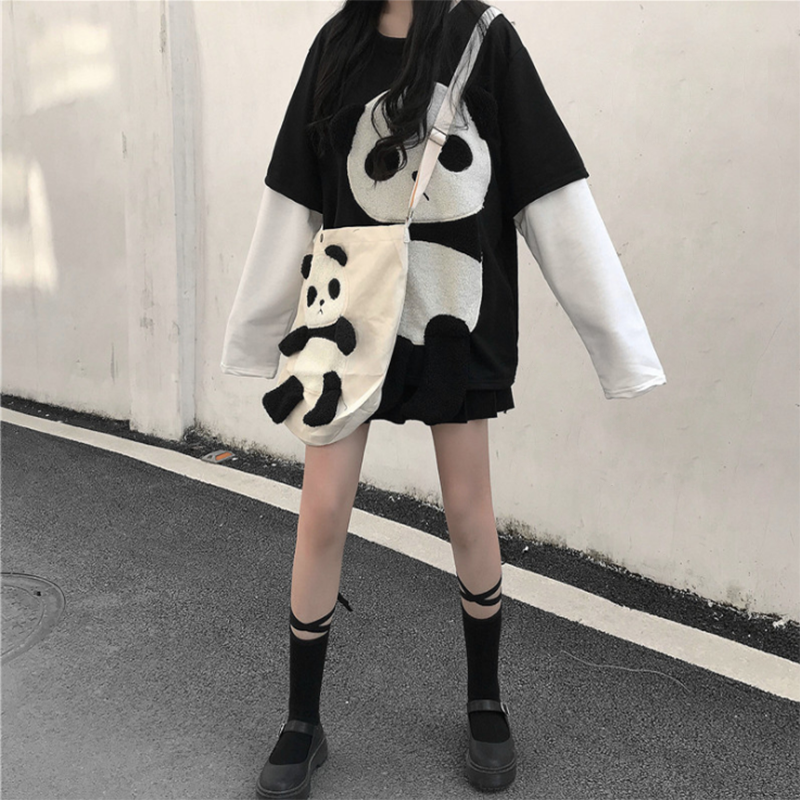Modakawa Crossbody Bag White / One Size Cute Panda Crossbody Bag