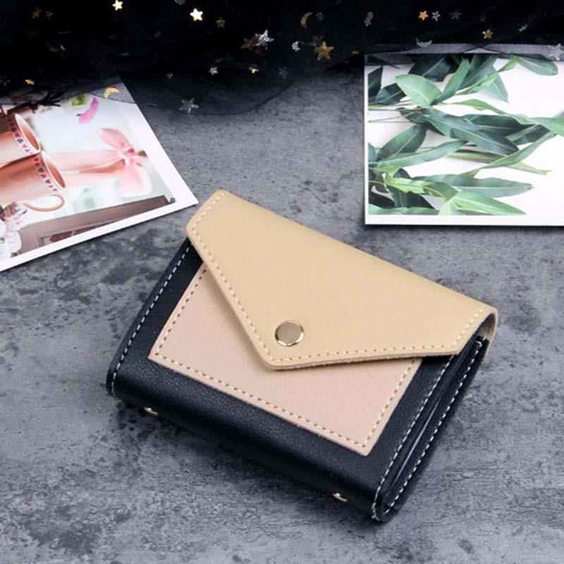 Modakawa Cute Things Black B Credit Card Holder Wallet Purse Candy Color Block