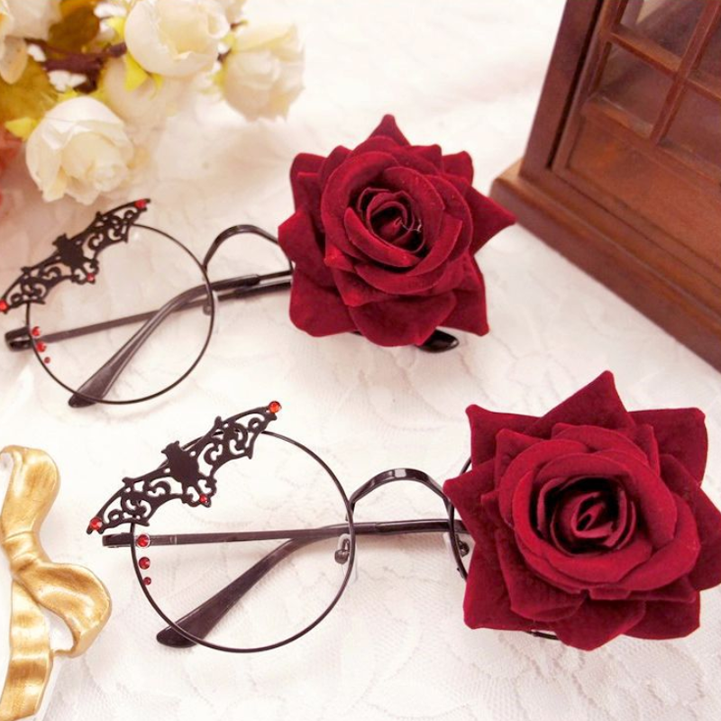 Modakawa Cute Things Black / One Size Vintage Rose Flower Decoration Glasses