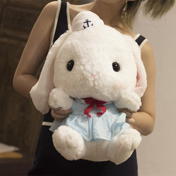 Modakawa Cute Things Blue Big White Rabbit Lower Ear Rabbit Plush Toy