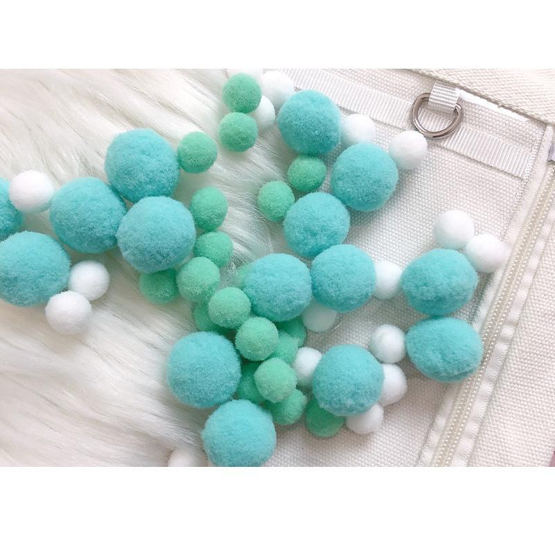 Modakawa Cute Things Blue / One Size Cute Candy Color Fuzzy Ball Itabag Accessory