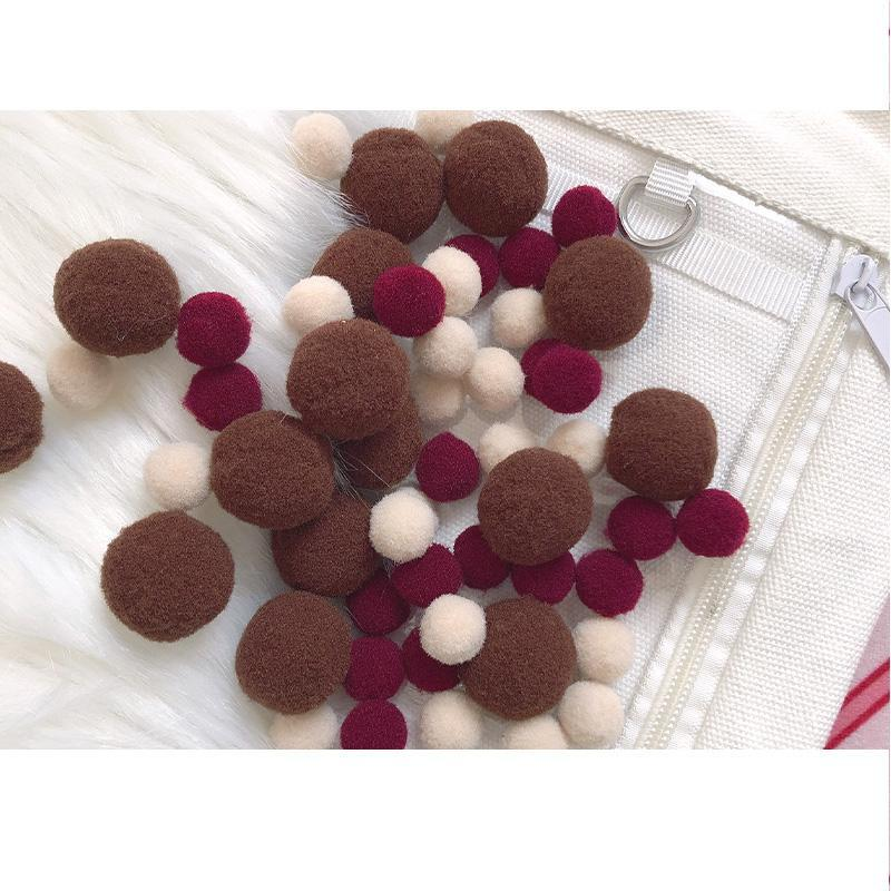 Modakawa Cute Things Brown / One Size Cute Candy Color Fuzzy Ball Itabag Accessory