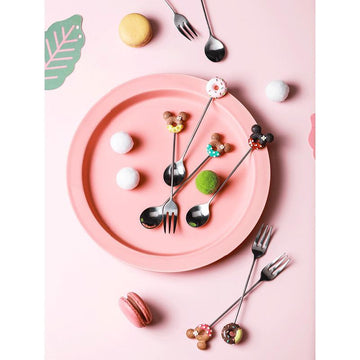 Modakawa Cute Things Cartoon Donuts Fork & Spoon Set