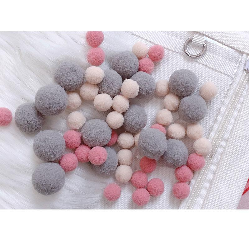 Modakawa Cute Things Gray / One Size Cute Candy Color Fuzzy Ball Itabag Accessory