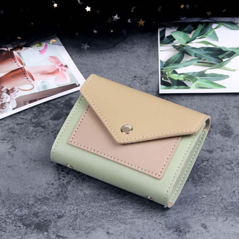 Modakawa Cute Things Green A Credit Card Holder Wallet Purse Candy Color Block