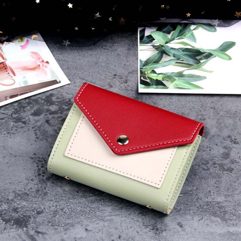 Modakawa Cute Things Green B Credit Card Holder Wallet Purse Candy Color Block
