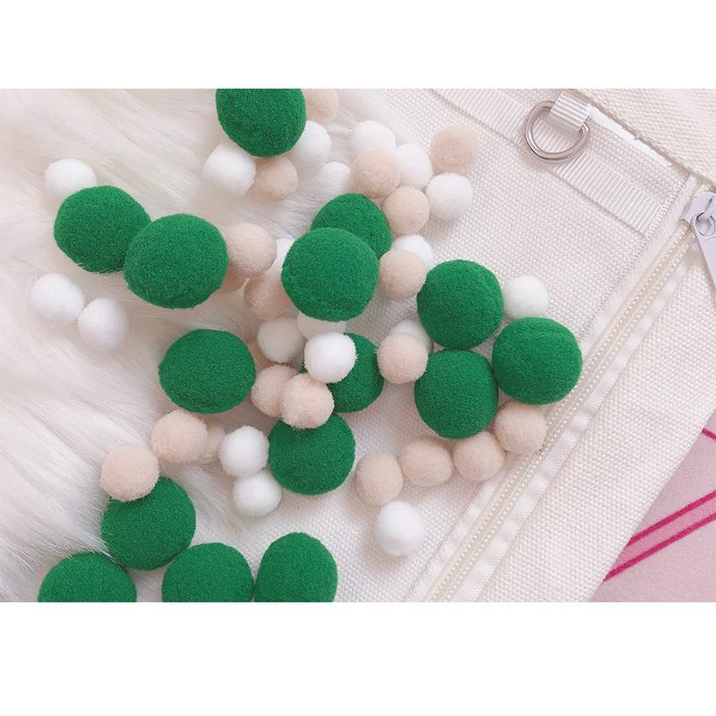 Modakawa Cute Things Green / One Size Cute Candy Color Fuzzy Ball Itabag Accessory