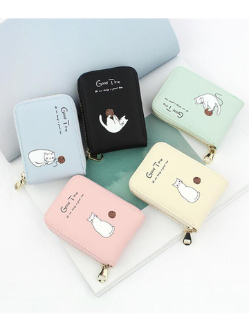 Modakawa Cute Things Green Slim Wallet Credit Card Holder Cats Cartoon Printed Purse