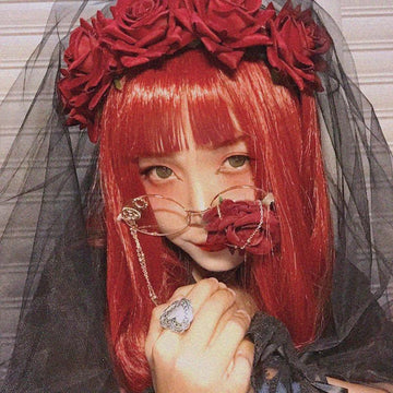 Modakawa Cute Things Halloween Cosplay Party Rose Veil Headdress Hair Accessory