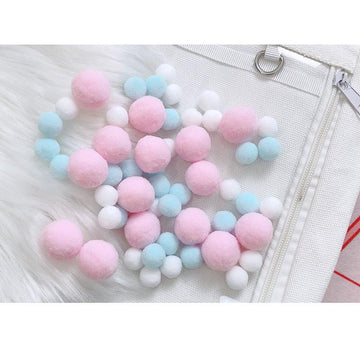 Modakawa Cute Things Pink / One Size Cute Candy Color Fuzzy Ball Itabag Accessory