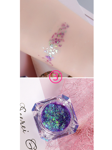 Modakawa Cute Things Purple Glitter Sequins Festival Cosmetic For Face Body 3D Art Decorations (No Glue Required)