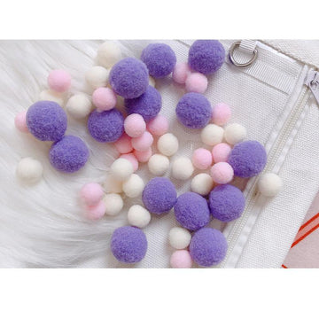 Modakawa Cute Things Purple / One Size Cute Candy Color Fuzzy Ball Itabag Accessory