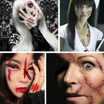Modakawa Cute Things Wound Scar / One Size Halloween Realistic Fake Bloody Wound Scar Waterproof Tattoo Stickers