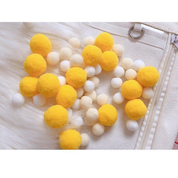 Modakawa Cute Things Yellow / One Size Cute Candy Color Fuzzy Ball Itabag Accessory