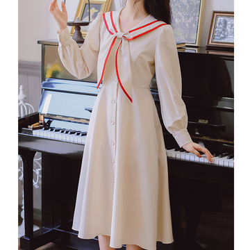 Modakawa Dress Apricot / S Sweet Bunny Ears Navy Collar Button High Waist Long Dress