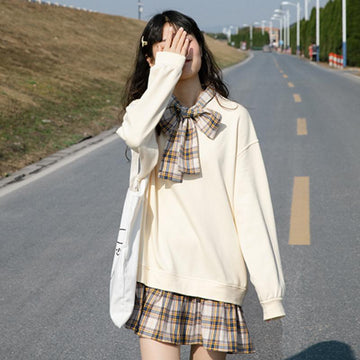 Modakawa Dress Beige / One Size Plaid Bowknot Tie Fake Two-Piece Sweatshirt Dress