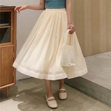 Modakawa Dress Beige / S High Waist Elastic Skirt Pure Color Tulle Skirt