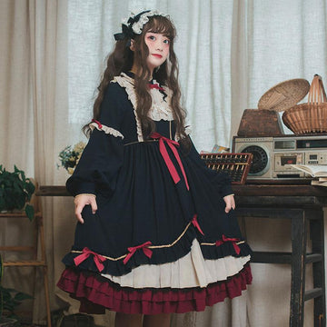 Modakawa Dress Black Dress / S Sweet Bow Ruffle A-line Lolita Dress