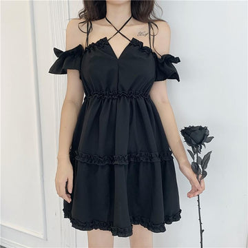 Modakawa Dress Black / One Size Off The Shoulder Ruffle Strap High Waist Dress